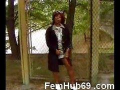 French Black mature fucking outdoors