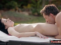 Brunette pornstar outdoor and cumshot