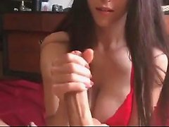 Amateur babe rides cock and gives handjob