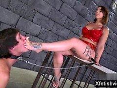 Brunette pornstar foot and cumshot