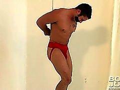 Sexy tied up dude enjoys masturbating his huge cock !