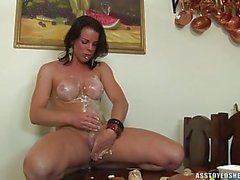 Sexy Brunette Tranny Playing Vegetables