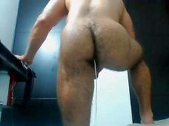 Muscle latin hunk shows his hairy ass on cam