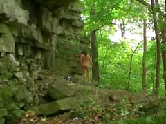 Rainy day nude rock-climbing at High Cliff by Mark Heffron