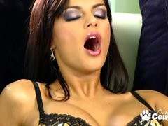 Big boobed brunette slut banging huge dick on couch