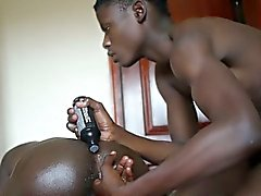 Ethnic african teen fingers lubed up ass