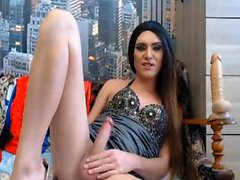 Clean Shaved Tranny Cock Playing with Toy
