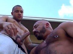 Muscled bear fucks raw