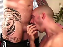 Skin head sucks dick and fucks hard anal