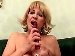 Horny mature slut self fucking with sex toys