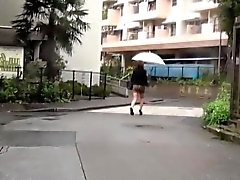 Asian sluts piss in rain