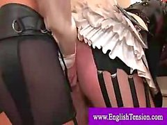 Enforced maid gets fucked in the ass by strapon cock