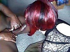 Sexy CD Deep Throats Black Cock For Cum