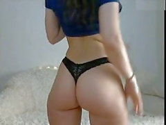 Lovely slim babe tight round ass butt