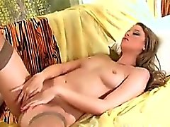 Babe Stripping And Rubbing Her Smooth Pussy