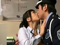 Alluring Japanese secretary seduces a cop to please her nee