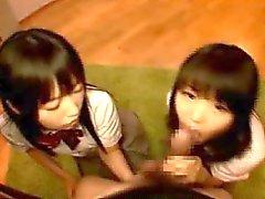 asiatisk avsugning japansk pov trekant
