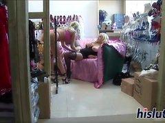 Intense lesbian threesome with ravishing blonde playgirls