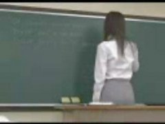 Japanese teacher gets nailed from behind by one of her students