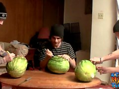 Straight inked guys fuck watermelons until cumming