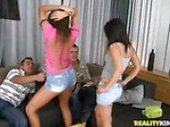 drunk euro girls in thong panties