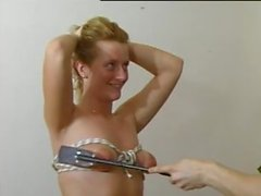 blonde chick gets punished for beeing unfaithful