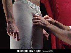 Mormonboyz Silver daddy disciplines horny son over his knee