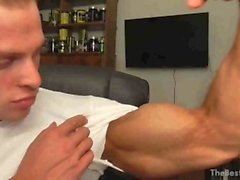 hot muscle flexer with big biceps
