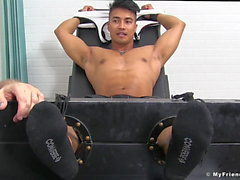 Beefy Asians feet and chest punished by deviant tickler