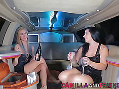 Corpulent bimbo drilled by a blond lady-man in a limo