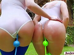 Big asses lesbian babes Isabella and Alysa Gap plays ass outdoor