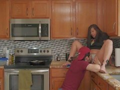 'FUCKING AND COOKING! Thick Latina wife gets fucked while the husband cooks'