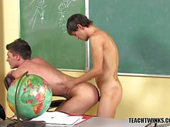 Andy and Maddox in the classroom