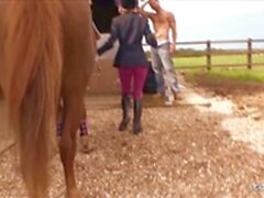 Two Teens Public Sex Fun on Horse Farm with Big Dick Guys