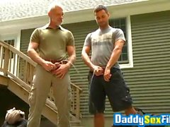 'Sloppy blowjobs after peeing time with muscular mature guys - RealGayHooku'