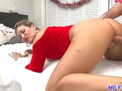MILF Trip - Thick MILF in Santa outfit gets facialized
