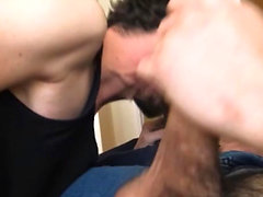Scruffy Straight Latin Hipstersucks off two gays before anal