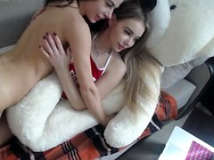 Lesbian hazed teen amateur riding toys with pleasure