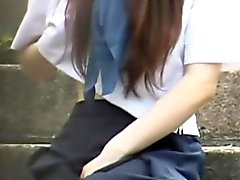 Flashing teen asian pees