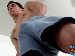 Young jock Kyle Mann loves stroking dick in the mirror