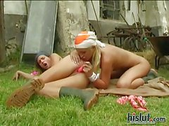 These farm girls try lesbian sex outdoor