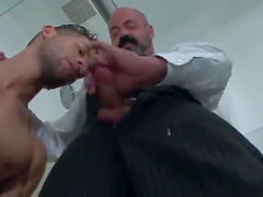 Hairy daddy fucks jock son after shower