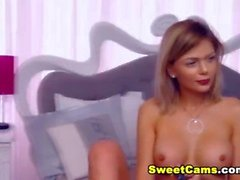 Perky Tits Blonde Plays Her Pink Pussy