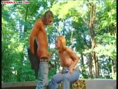Blonde ladyboy bangs with guy in the garden