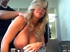 Hot office slut MILF wife wearing body stocking