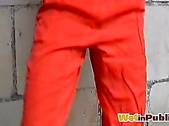 Outdoor red pissed pants of a chickie