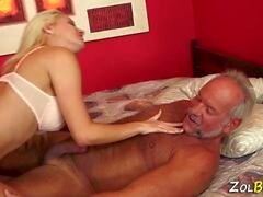 kinky blonde tugs old man