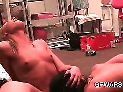 Tiny boobed bisexual blonde cunt licked to strong orgasm