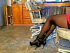 Black pantyhose and heels