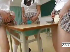 Subtitled Japanese schoolgirls in thongs butt judging